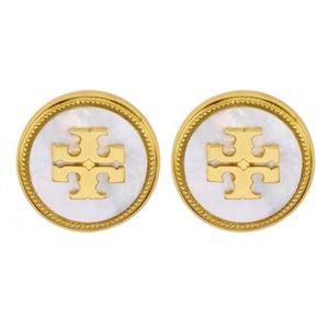 Tory Burch Semiprecious Stone Logo Earrings